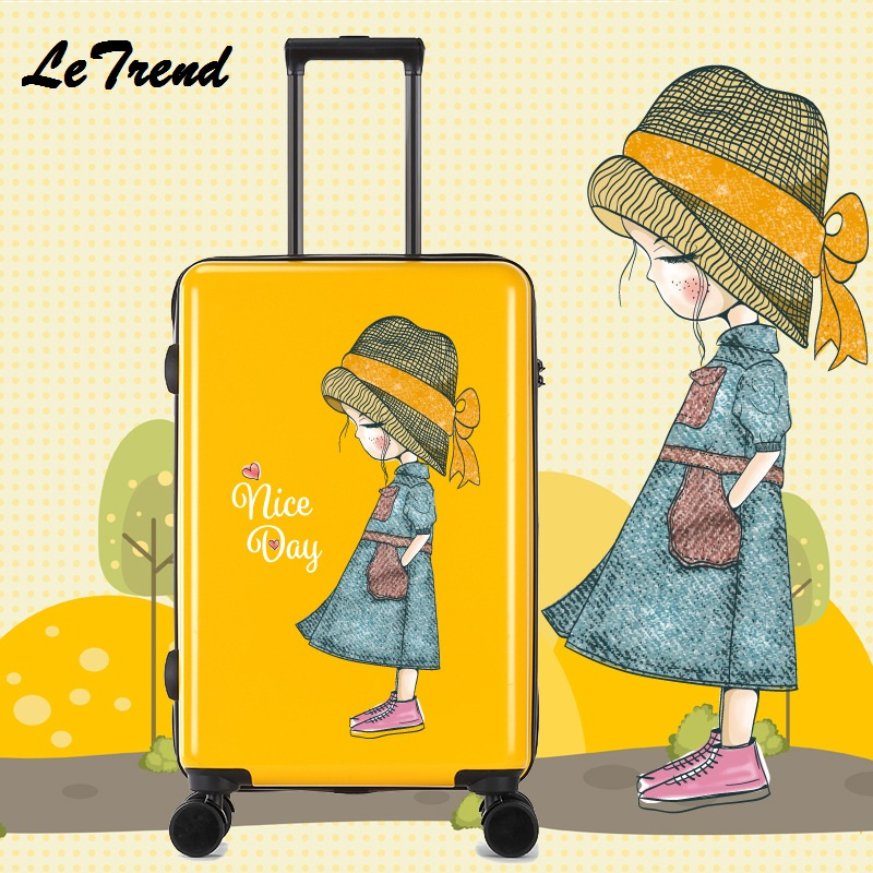 Fashion Girl 20/24 Inches Trolley Boarding Case PC Colourful Travel Waterproof Luggage Rolling Suitcase Extension Spinner Box