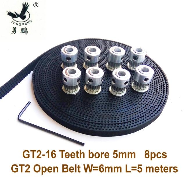 8 piezas 16 dientes GT2 polea diámetro 5mm + 5 metros GT2 Correa ancho 6mm 2GT cinturón para RepRap Prusa Mendel 3D envío gratuito