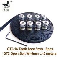 8pcs 16 Teeth GT2 Timing Pulley Bore 5mm 5Meters GT2 Timing Belt Wide 6mm 2GT Belt