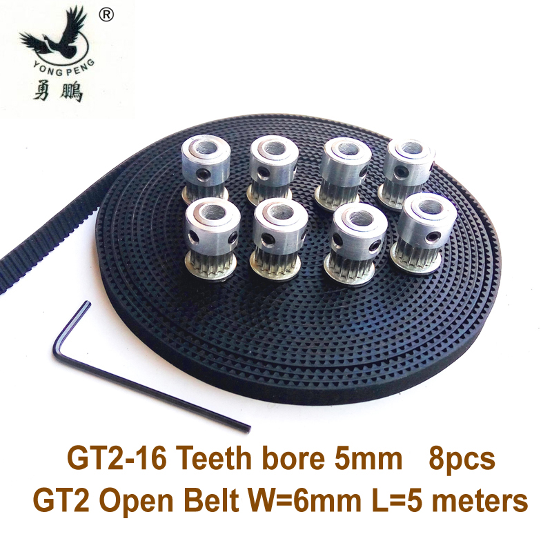 цена на 8pcs 16 teeth GT2 Timing Pulley Bore 5mm + 5Meters GT2 timing Belt Wide 6mm 2GT belt for RepRap Prusa Mendel 3D freeshipping