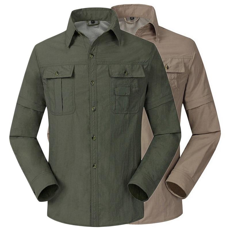 Extraíble transpirable de secado rápido a prueba de agua al aire libre Senderismo Camisa de los hombres Trekking Mountain Fishing Ropa Camping Camisas masculinas, AM043