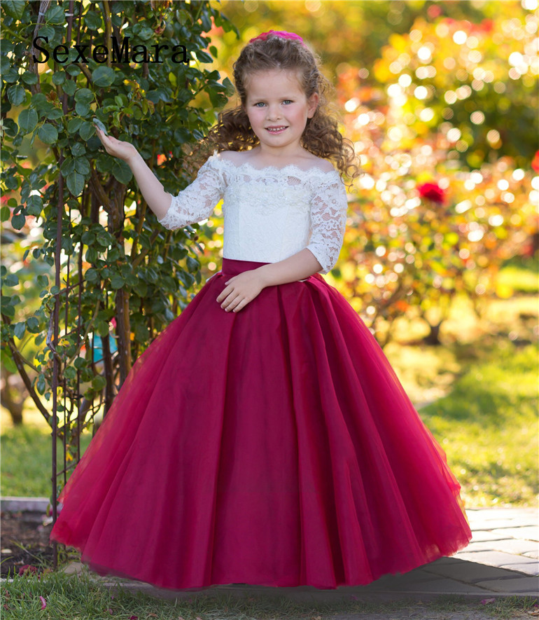 Off Shoulders Flower Girl Dress Burgundy Wedding A-line White Lace Fancy Girls Dress for Wedding Birthday Christmas Gown burgundy cami playsuit with lace details