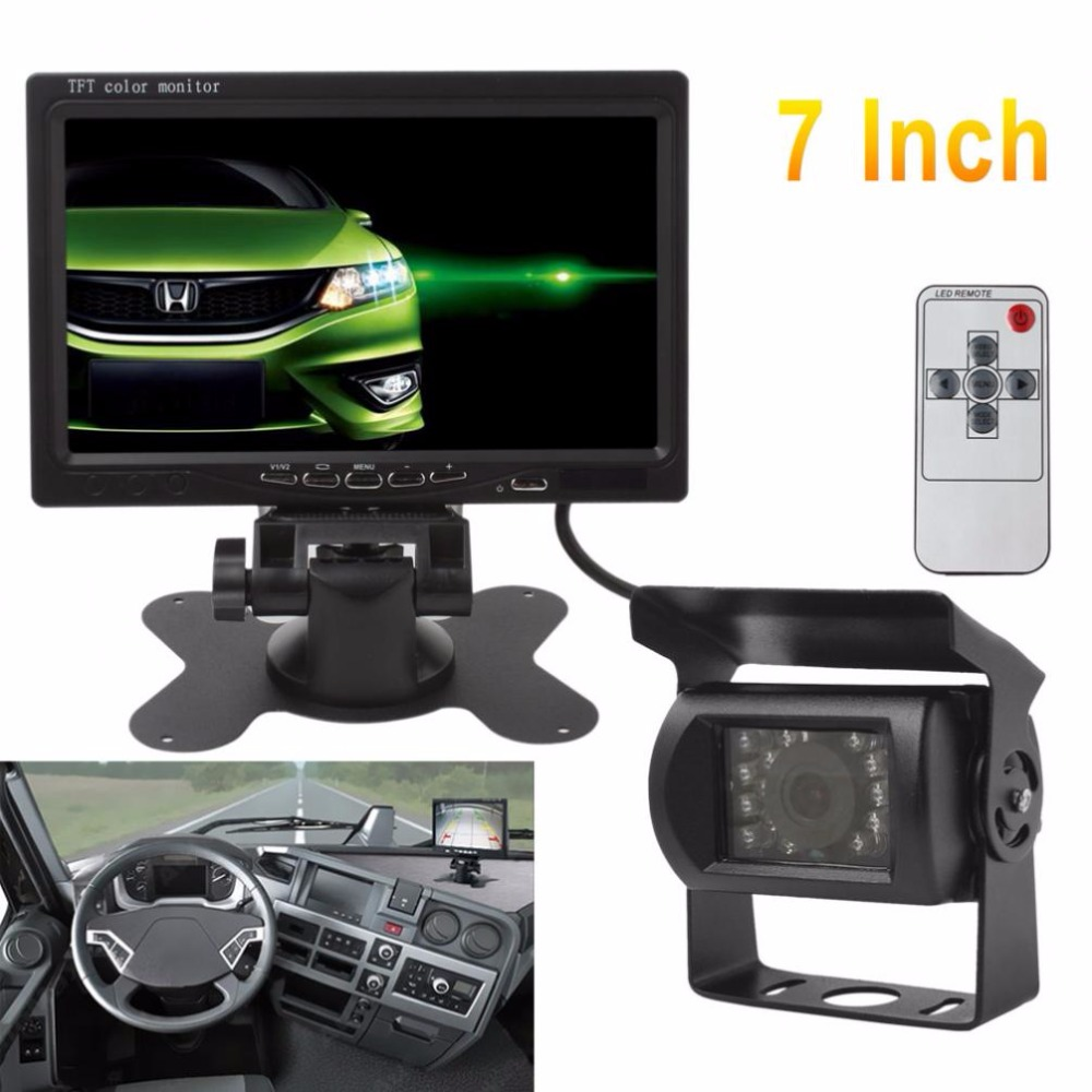 7 inch 12V/24V TFT LCD Wireless CMOS Car Rear View Monitor with IR Night Vision Backup Camera Kit Parking System 7 car wireless foldable tft lcd monitor with rear view infrared night vision backup camera reverse parking cam for truck bus