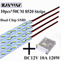 RAYWAY wholesale 10pcs/lot Dual Chips smd 8520 LED bar light rigid Light Strip for show case + DC 12V power supply metal adapter