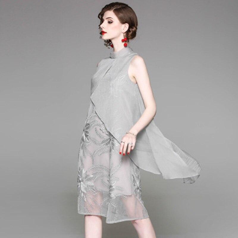 Femme En Soie 2019 Gray Robe Sans Nouveau Mousseline De Xjj263 Manches Longues Couleur Évider Sections white Mode Broder Été Pur Tempérament Robes 80vNnmw