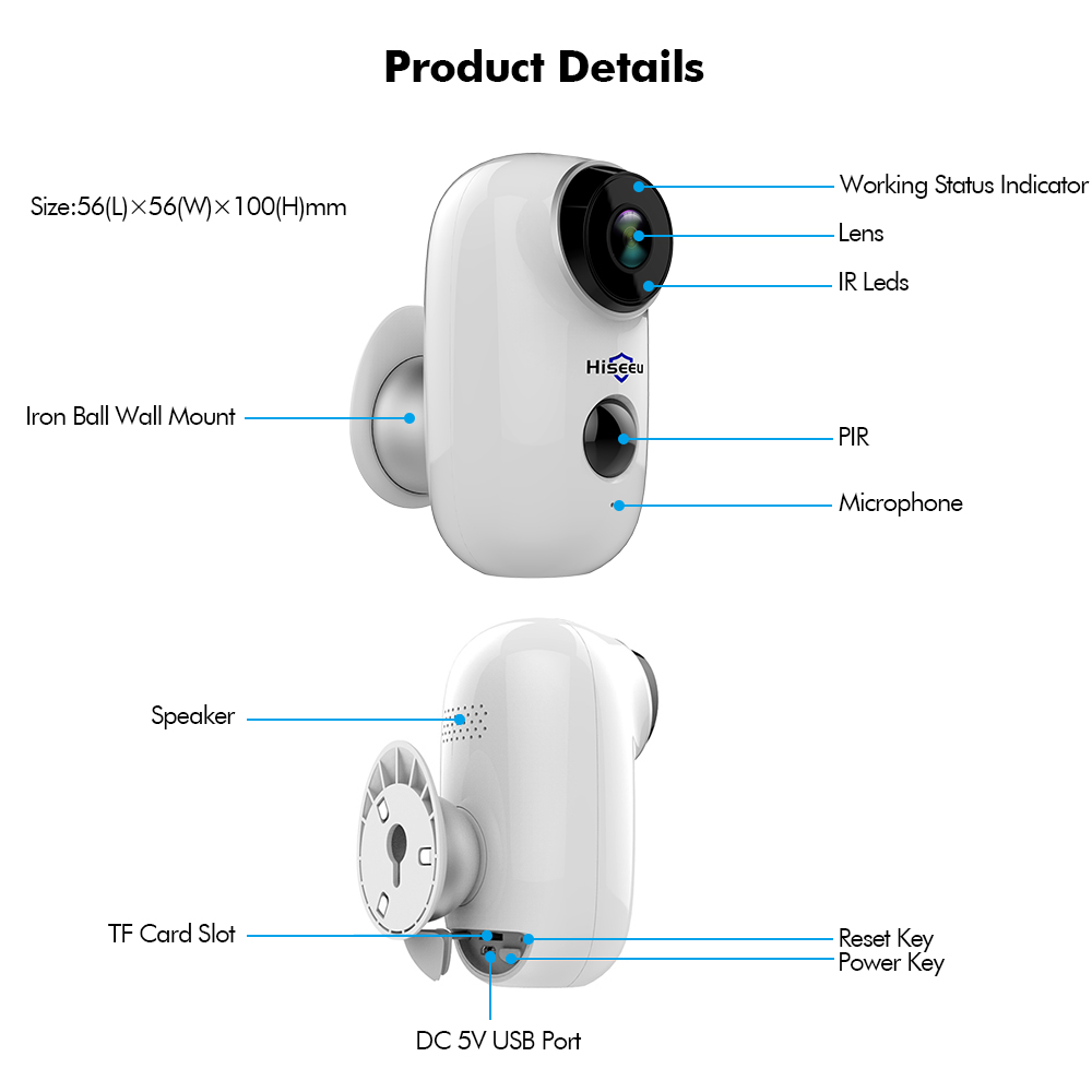 hiseeu 100 wire free rechargeable battery cctv wifi ip camera outdoor ip65 weatherproof home security camera pir motion alarm in surveillance cameras from  [ 1000 x 1000 Pixel ]