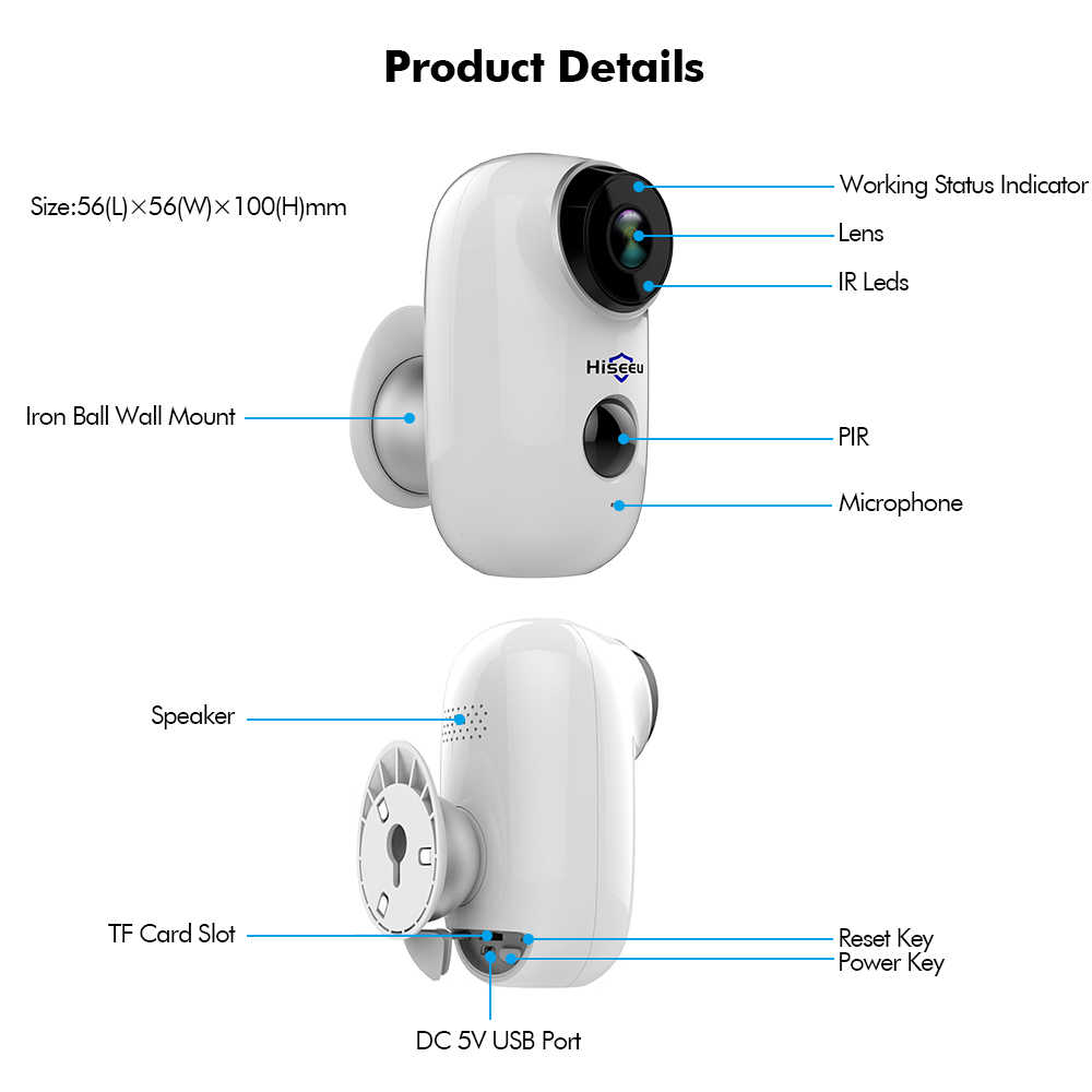 small resolution of  hiseeu 100 wire free rechargeable battery cctv wifi ip camera outdoor ip65 weatherproof home