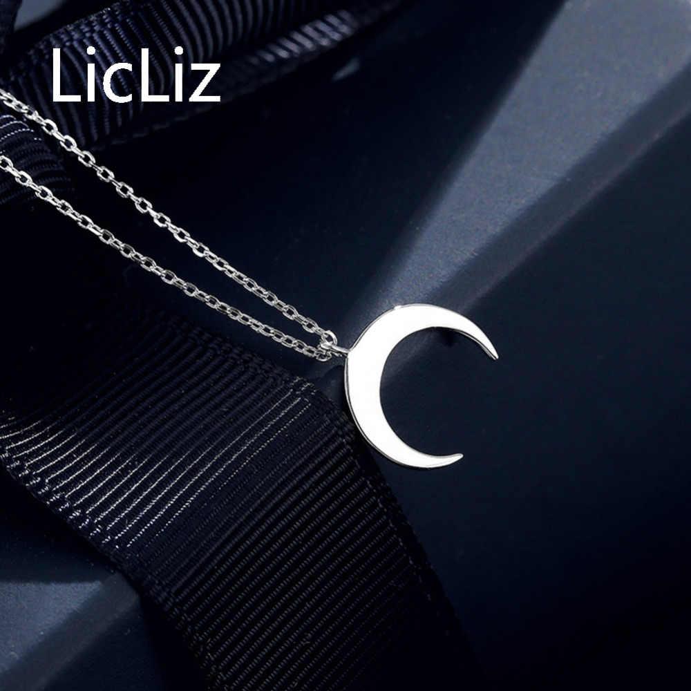 Licliz moda 925 prata esterlina branco ouro lua design pingente colares para mulheres colar jóias colares mujer ln0395