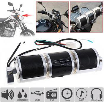 Bluetooth Motorcycle Stereo Speaker Motorbike MP3 Music Player FM Radio Adjustable Bracket Waterproof LED Display