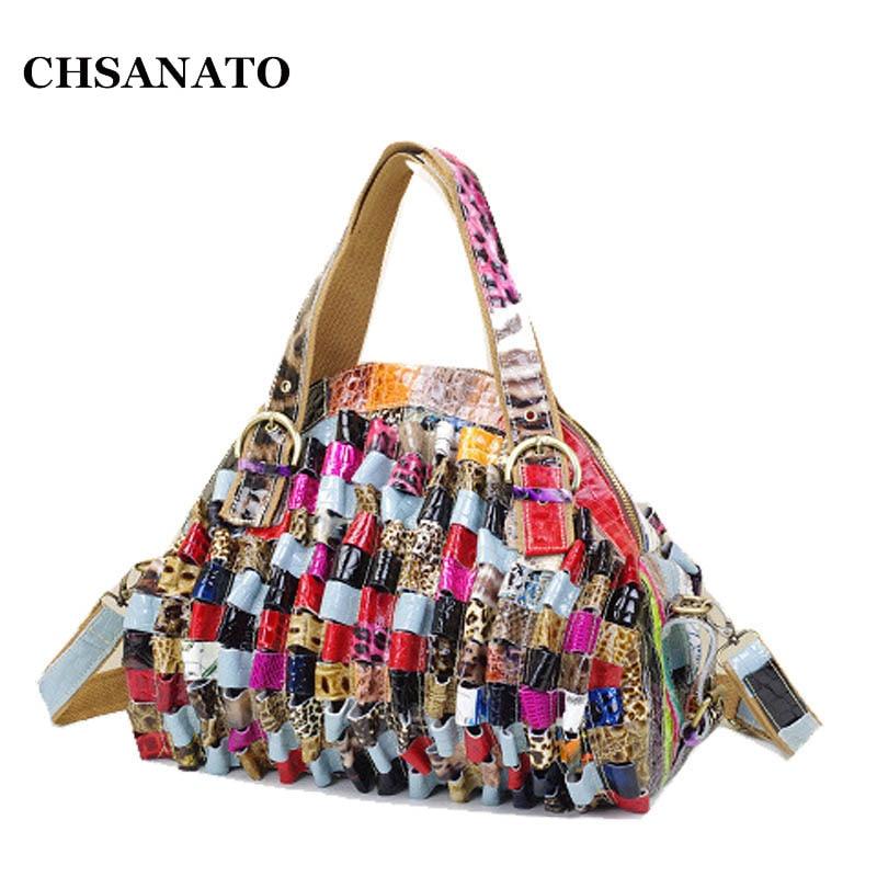 CHSANATO Snake Print Patchwork Shoulder Bag 2019 New Genuine Cow Leather Womens Fashion Shining Satchel Handbags