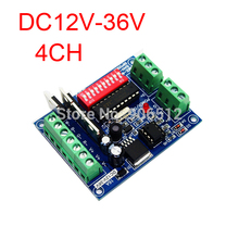 Free Shipping 4ch Rgbw  Dmx512 Dimmer Controller, Dc12v-36v Output,each Channel Max 4a,led Dmx512 Decoder