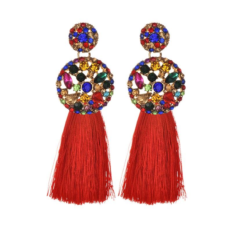 ZHINI Long Tassel Earrings Crystal Rhinestone korean Vintage Big champagne Flower Stud Earrings For Women Christmas earrings