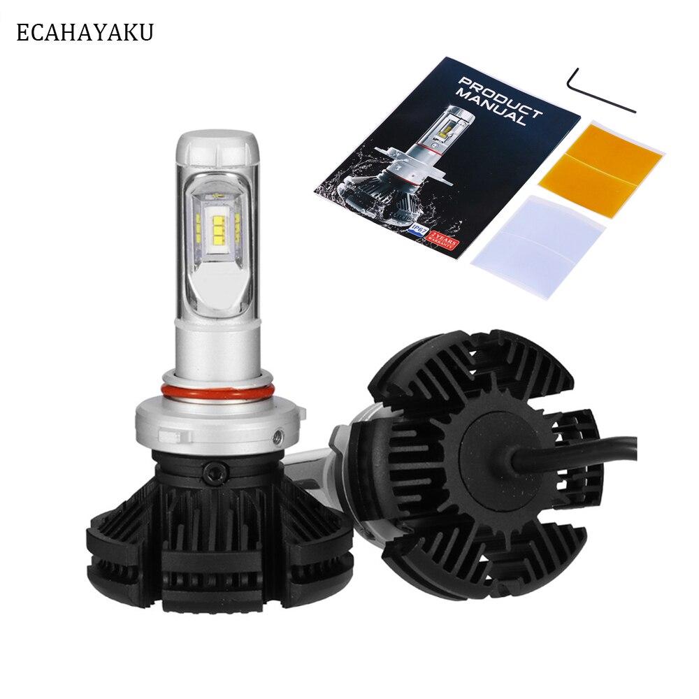 ECAHAYAKU 2 шт. Автомобильные светодиодные фары внедорожный комплект H4 H7 H11 9005 9006 X3 6000LM 3000k 6500k 8000k Автомобильная внедорожная запасная фара