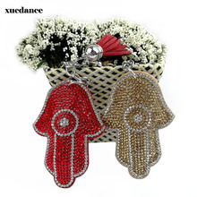 New Fatima hand palm car pendant Key chains diamond drill tassel gift creative personality women keychain fashion keyring