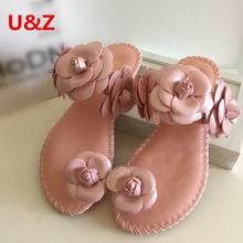 Summer Fashion soft flats women sandals Camellia Flower Sweet Flip Flops,Beautiful flower Toed Slippers female beach shoes Sale(China)
