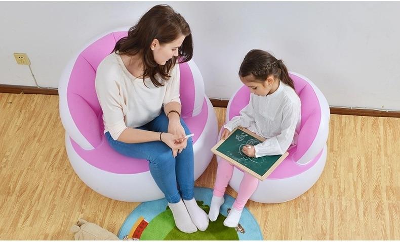 Color Adult Children Cute Creative Flocking Back Sofa, Parents Matching Inflatable Air Bean Bag Chair,shell Design Chair