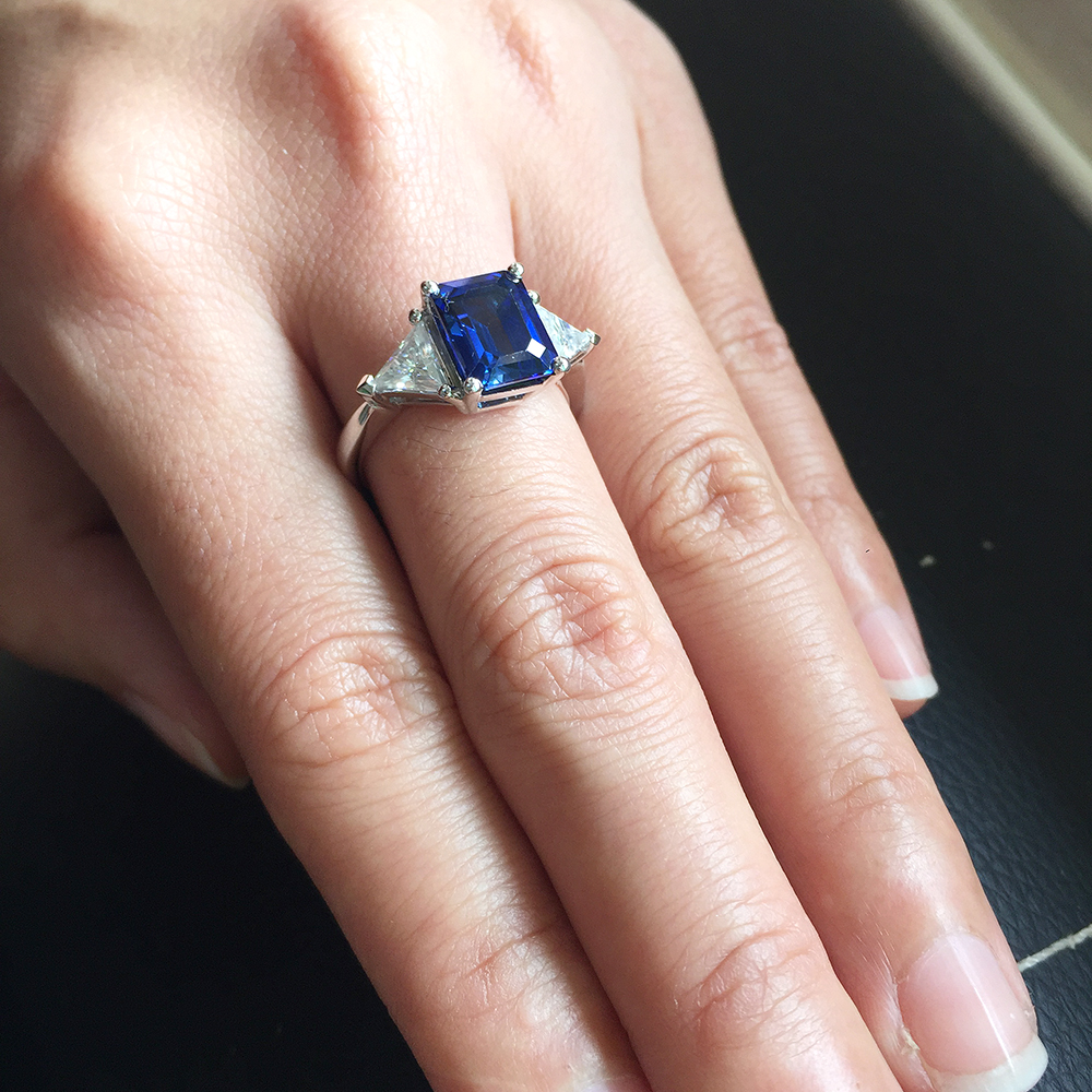 art sapphire engagement c blue one moissanite deco itm amp ring forever diamond
