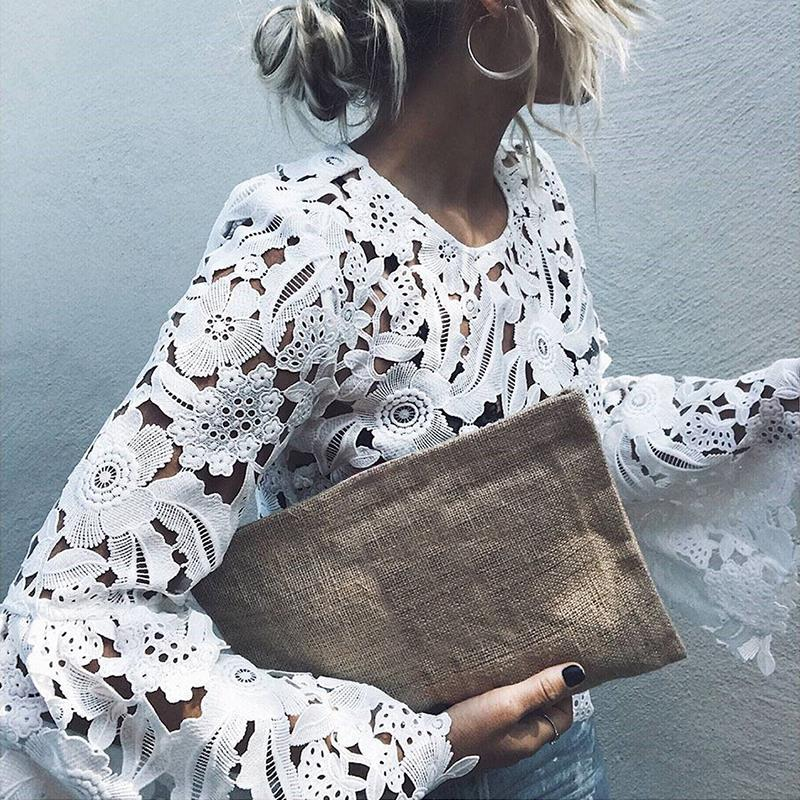 Women Lace   Blouses     Shirts   Elegant Sexy Hollow Out Horn Sleeves Summer Office   Shirts   White Blusas WS4187M