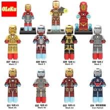 OLeKu Iron Man Marvel Avengers Super Hero Figure Marvel Ironman Iron Man Building Sets Model Bricks