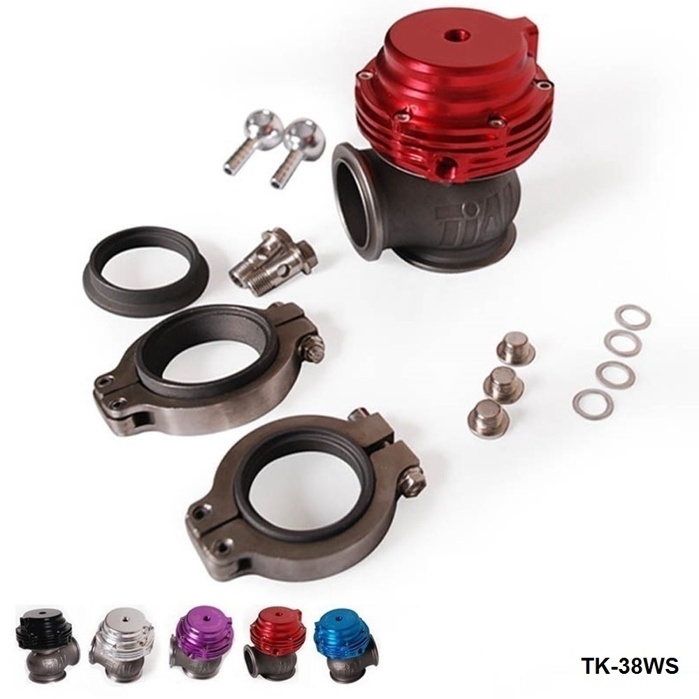 MVS Ti Wastegate 38mm External Turbo Wastegate With V-band And Flanges (about 14 PSI) TK-38WS wlr racing ex 38mm wastegate with v band and flanges turbo wastegate with pqy logo wlr5831 qy