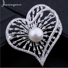 Jewecexpress  Popular bright heart zircon Brooches Women jewelry Party wedding Christmas gift