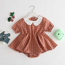 Lovely Baby Girls Summer Short Sleeve Cotton Plaid Print Cute One-Pieces Jumpsuit Romper 0-3Y Cute Newborn Clothes cute short sleeve pineapple print baby romper for kids