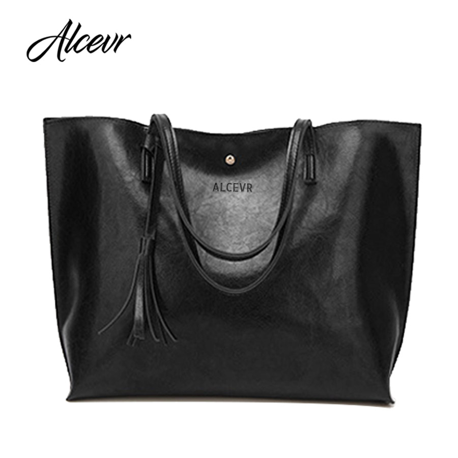 ALCEVR Tote Bags for women 2018 NEW Tassel Shoulder Bag Oil wax leather luxury handbags women bags designer Famous Brand bolsa цены онлайн