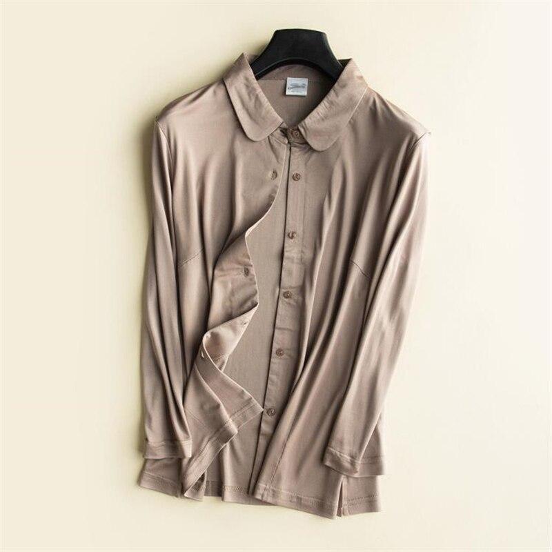 Femme printemps 93% Chemises en Soie femme automne surdimensionné Blouse en Soie dame respirant chemise en Soie femmes été Cardigan Soie Chemises - 2