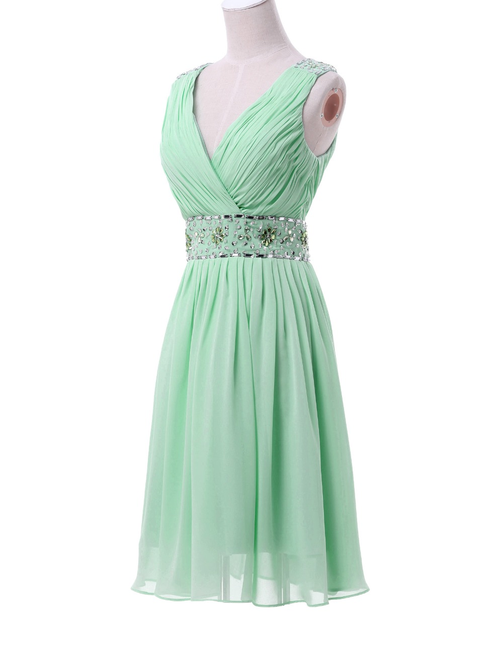 Aliexpress buy real picture chiffon mint green short aliexpress buy real picture chiffon mint green short bridesmaid dresses knee length v neck prom party dress beaded and sequins cl6104 from reliable ombrellifo Images