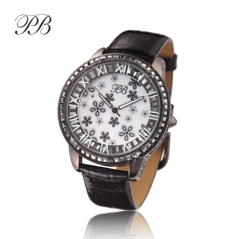 New Arrival Famous PB Brand Princess Butterfly Element Crystal Watch Young Girl Fashion Lucky Flower Rhinestone Watch
