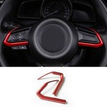 Детектор автомобиль Stick ABS Chrome Руль подкладке комплект отделкой лампы рамка для 2017 2018 Mazda 2 Demio/M3 Axela/M6 Atenza