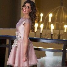 Günstige Kurze Cocktailkleid Staubige Rosa Abendgesellschaft Kleid Blumen Vestido De Festa Frauen Kleid Formale Party Kleider Mini Röcke