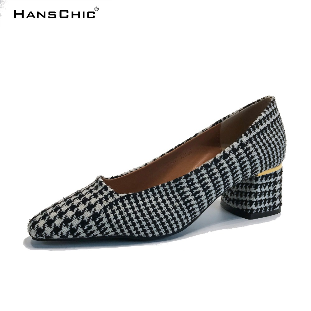 HANSCHIC 2018 Spring New Arrival Houndstooth Design Retro Slip on Lady Womens Med Heels Pumps Shoes for Female 001 hanschic 2018 spring new arrival houndstooth design retro slip on lady womens med heels pumps shoes for female 001