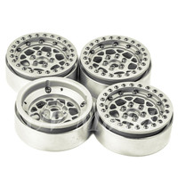4 Pcs Lot Silver Alloy 1 10 RC Crawler 1 9 Beadlock Wheels Rim For 1