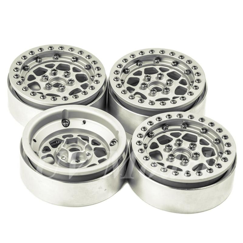 4 Pcs/lot Silver Alloy 1/10 RC Crawler 2.2 Beadlock Wheels Rim for 1/10 SCX10 90018 RC Rock Crawler axspeed 1 9   rc crawler wheels alloy