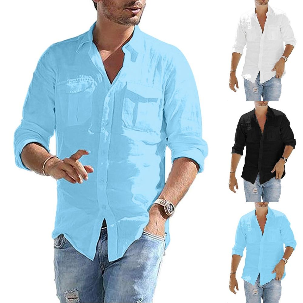 Men's Baggy Cotton Linen Pocket Solid Long Sleeve Retro Tops Blouse Chemise Summer Personality Men's Pocket  Casual