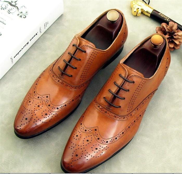 As De Pic Británicos Oficina Negocio Toe Cuero Vestido Lace Completo up as Pointed Casual Brogue Tallado Zapatos Grano Estilo Pic Hombres qfCATC