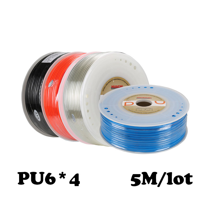 PU6 4 5M lot Free shipping Pu air compressor hose air pump pipe for air water Pneumatic parts pneumatic hose ID 4mm OD 6mm in Pneumatic Parts from Home Improvement