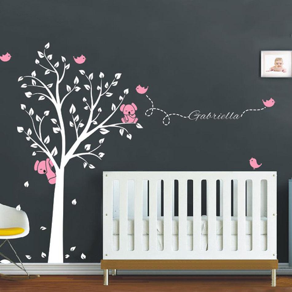 Modern Koala Tree Birds Wall Stickers Custom Name Vinyl Wall - Custom vinyl wall decals nursery