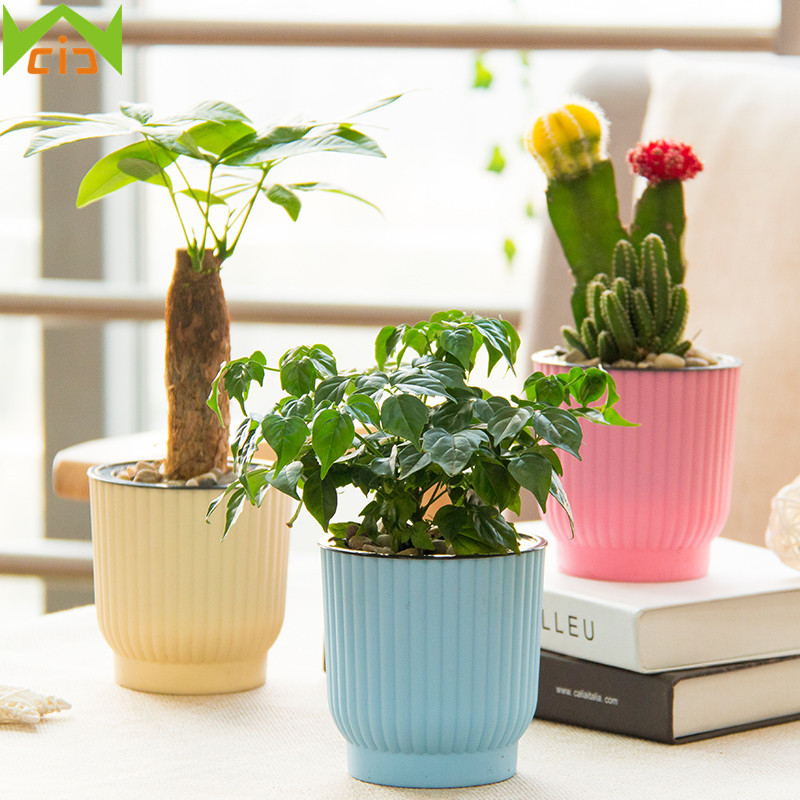 WCIC Decorative Planters For Succulents Seedlings Self Watering Flowerpots Plastic Home Garden Plant Pot Automatic Nursery Pot