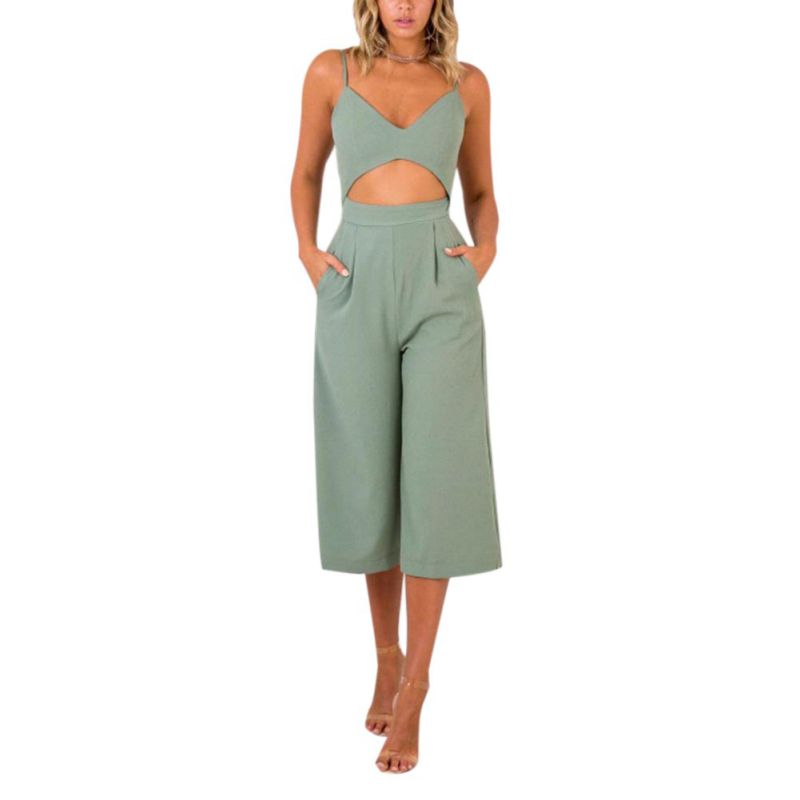 Sexy Camisole   Jumpsuit   2018 Summer Women Pants Bodysuits Solid Fashion Higt Waist Rompers Womens   Jumpsuit