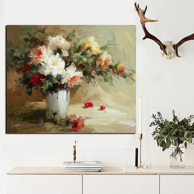 Big Canvas Art Modern Watercolor Abstract Ink Splash Big: Big Size Abstract Flowers In Vase Oil Painting Print On
