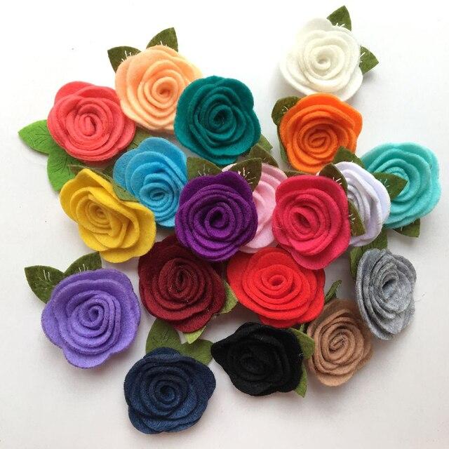 TIPPA 10pcs Felt rose Fabric non woven hair Flower with Leaf Felt ...