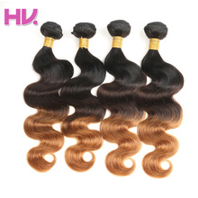 Hair Villa Remy Human Hair Bundles Brazilian Body Wave Hair Weave 4pcs #1b/4/30 For Salon Low Ratio Longest Hair PCT 15%