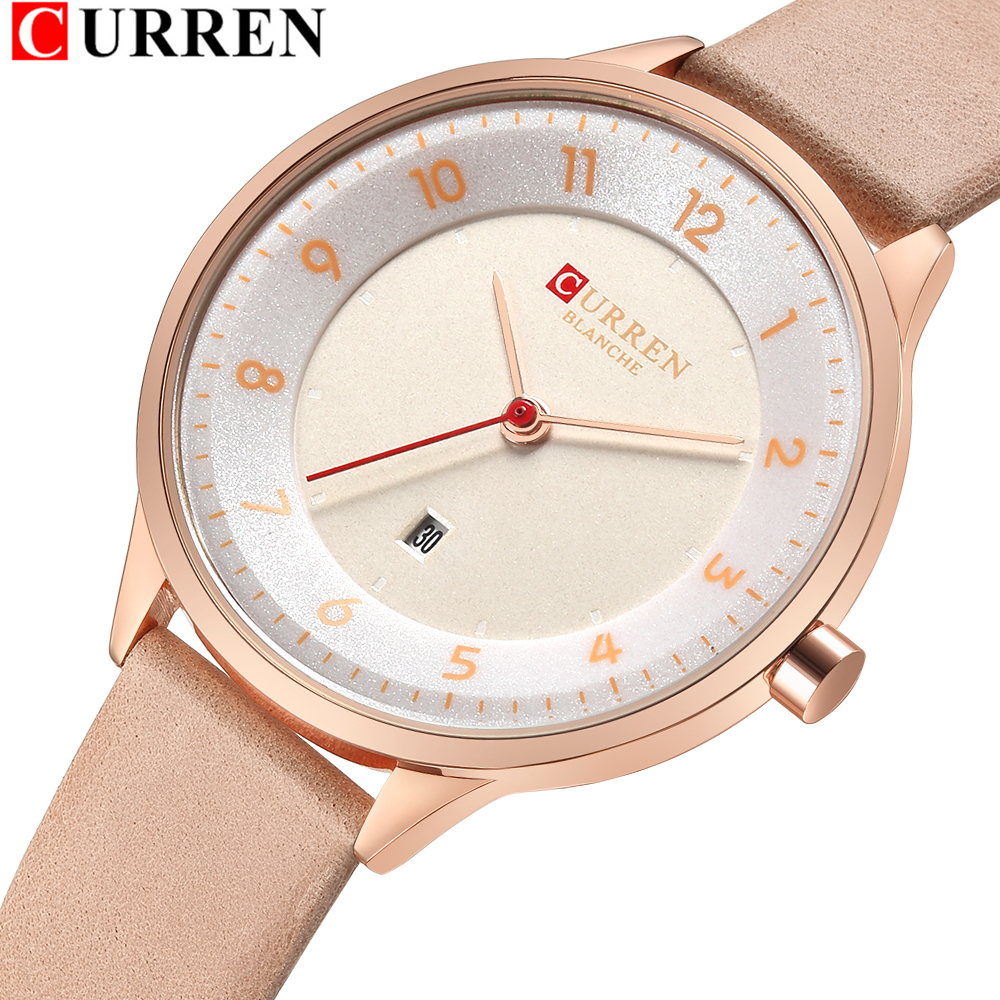 CURREN Brand 7MM Ultra-Thin Women Watches 2018 Luxury Genuine Leather Strap Fashion Quartz Watch Women Wristwatches Montre Femme