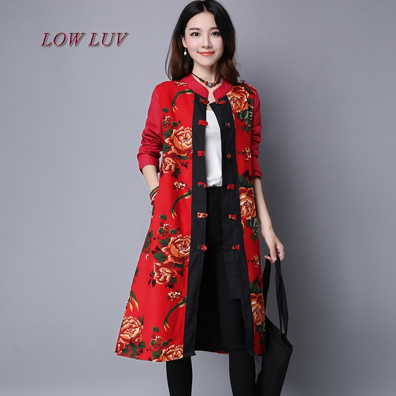 Women Vintage Cotton Linen Long Sleeve Pattern Dress Single Breasted Button New Autumn Fall Trench