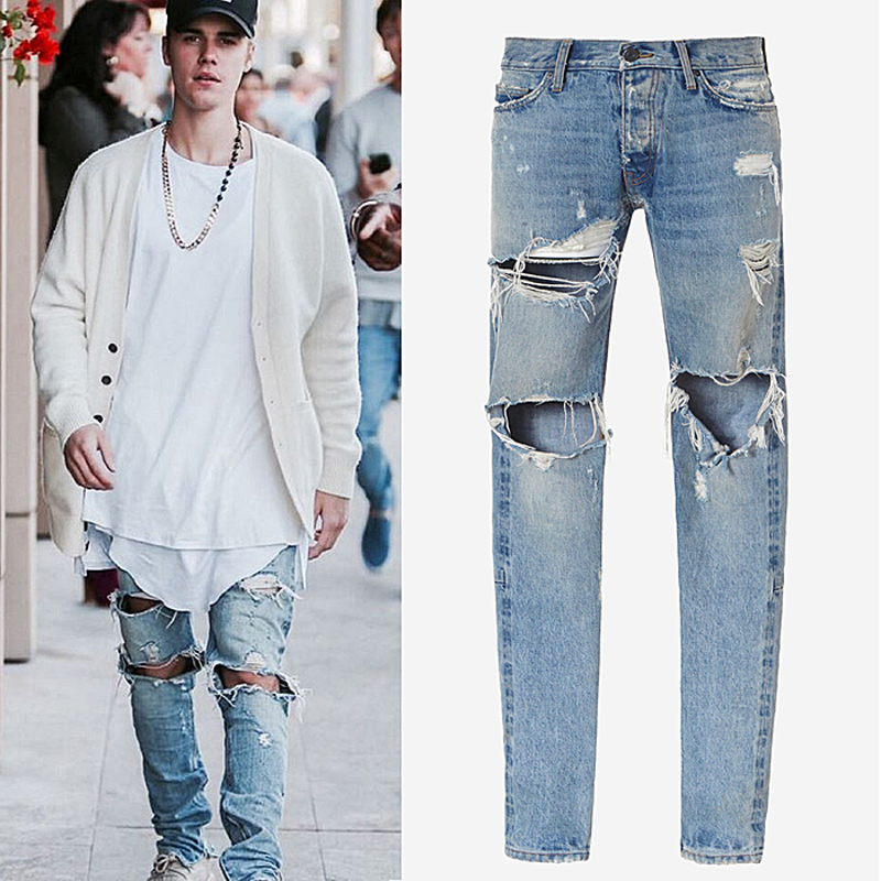 2017 new jeans men high street tide male water wash knees zipper big hole jeans trousers twisted feet Jeans beggars pants