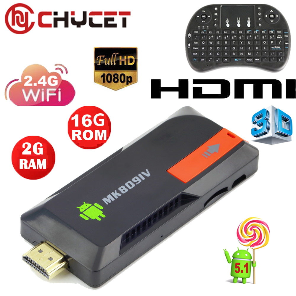MK809IV 1080P OTG Mini PC Android TV Dongle MK809III RK3229 2G RAM + 16G ROM Android 5.1 tv box Network HD Player Set top BOX