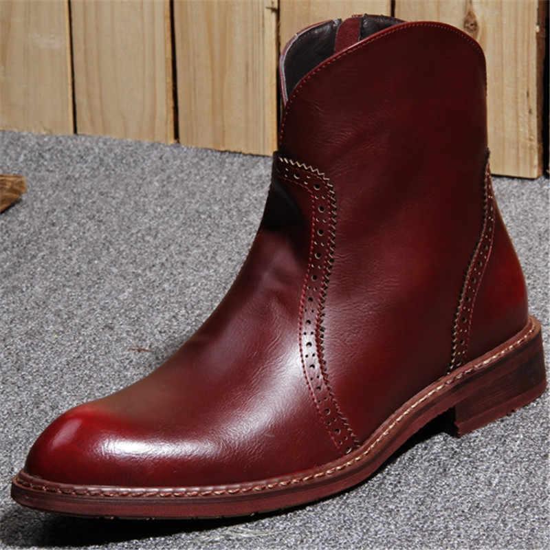 Modis Merk Laarzen Mannen Winter Werkschoenen Zwart Lederen Laarzen Heren Schoenen Warm Pluche Fur Winter Laarzen Voor Mannen Veiligheid schoenen Botas