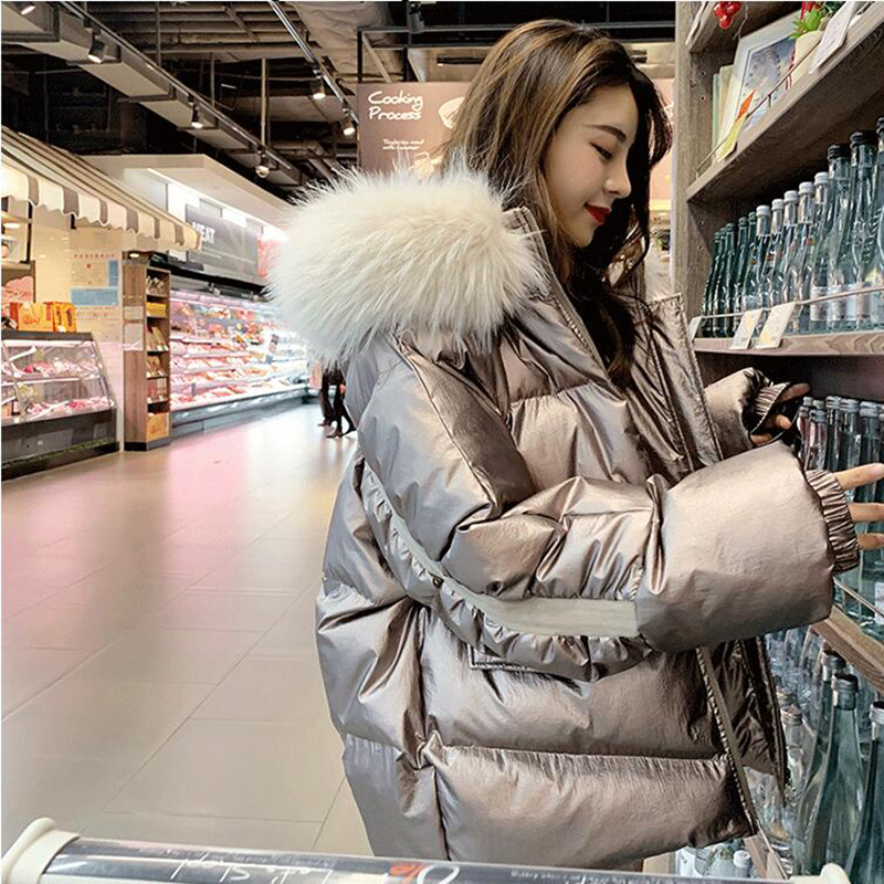 2019 new women jacket winter bright   Parka   hooded big fur collar warm thicken coat woman   parkas   loose large size jacket coats